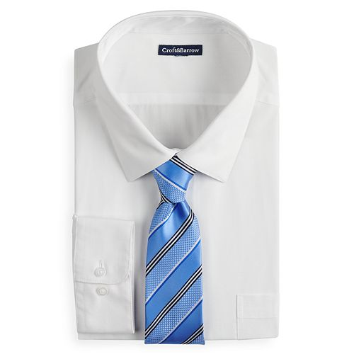 Big & Tall Croft & Barrow® Classic-Fit Dress Shirt and Patterned Tie Boxed Set
