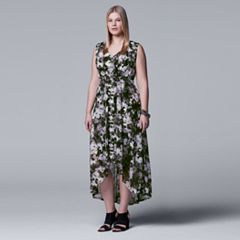 Plus Size Simply Vera Vera Wang Pleated High-Low Maxi Dress