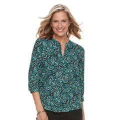 Women's Dana Buchman Printed Splitneck Top