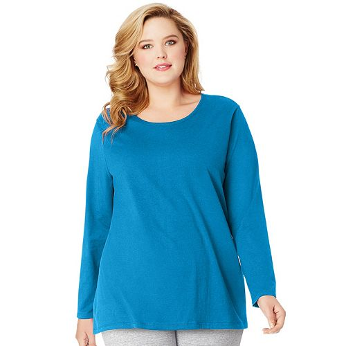 Plus Size Just My Size  Long Sleeve Relaxed Crew Tee