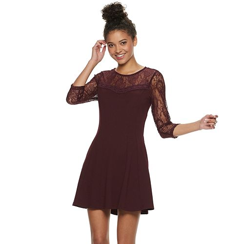 Juniors' Speechless Lace Sleeve Illusion Neck Dress