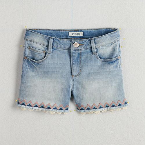 Girls 7-16 & Plus Size Mudd® Embroidered Trim & Frayed Hem Denim Shorts