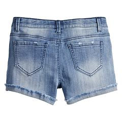 Girls 7-16 & Plus Size Mudd® Extreme Wash Frayed Cuff Denim Shorts