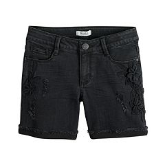 Girls 7-16 & Plus Size Mudd® Floral Applique Distressed Denim Shorts