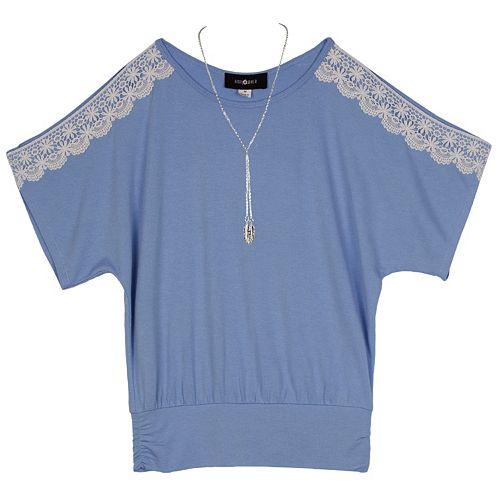 Girls 7-16 & Plus Size IZ Amy Byer Crochet Sleeve Top with Necklace