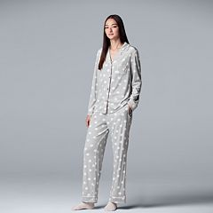 Women's Simply Vera Vera Wang 3-piece Velour Sleep Top & Pants Pajama Set