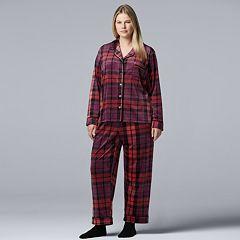 Plus Size Simply Vera Vera Wang 3-piece Velour Top & Pants Pajama Set