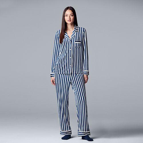 Petite Simply Vera Vera Wang 3-piece Velour Top & Pants Pajama Set