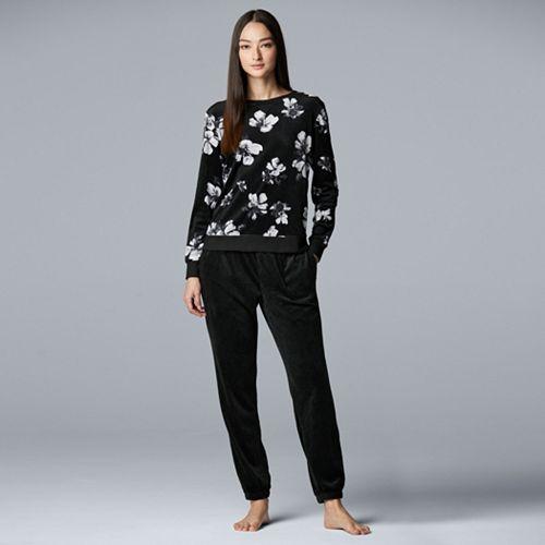 Women's Simply Vera Vera Wang Velour Top & Jogger Pajama Set