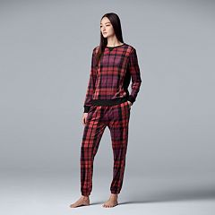 Women's Simply Vera Vera Wang Velour Top & Jogger Pajama Set