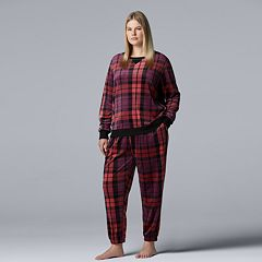 Plus Size Simply Vera Vera Wang Velour Top & Jogger Pajama Set