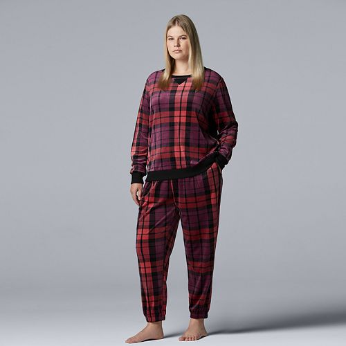 e2cf4222e6 Plus Size Simply Vera Vera Wang Velour Sleep Top   Banded Bottom Sleep  Pants Pajama Set