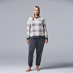 Plus Size Simply Vera Vera Wang Velour Top & Jogger Pajama Set