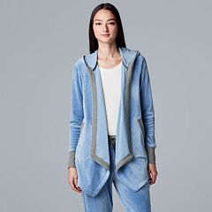 Women's Simply Vera Vera Wang Hooded Plush Cardigan
