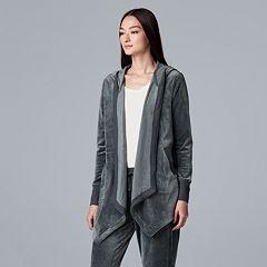 Women's Simply Vera Vera Wang Hooded Plush Cardigan