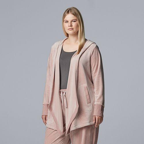 Plus Size Simply Vera Vera Wang Hooded Plush Cardigan