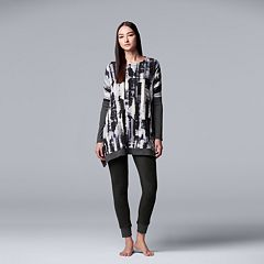 Women's Simply Vera Vera Wang Asymmetrical Tunic & Leggings Pajama Set