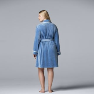 Plus Size Simply Vera Vera Wang Velour Wrap Robe