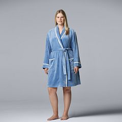 Plus Size Simply Vera Vera Wang Velour Wrap Robe
