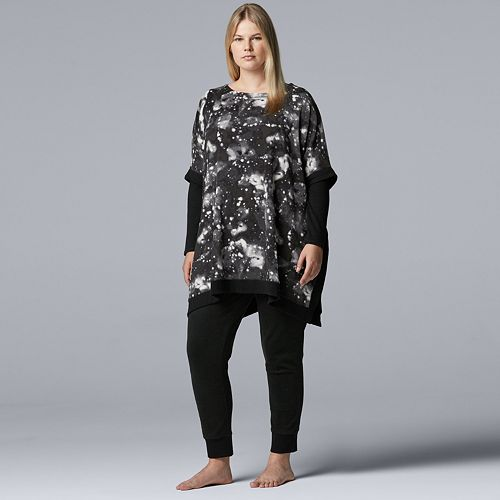 Plus Size Simply Vera Vera Wang Asymmetrical Fleece Tunic & Leggings Pajama Set