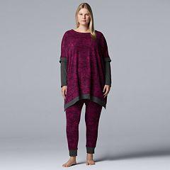 Plus Size Simply Vera Vera Wang Asymmetrical Fleece Tunic & Leggings Pajama Set