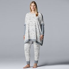 Plus Size Simply Vera Vera Wang Asymmetrical Tunic & Leggings Pajama Set