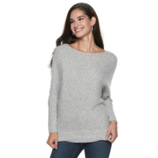 Women's Jennifer Lopez Variegated-Rib Dolman Sweater