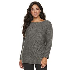 Women's Jennifer Lopez Variegated-Rib Dolman Sweater