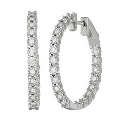 Women S Sterling Silver 1 2 Ct Diamond Hoop Earrings