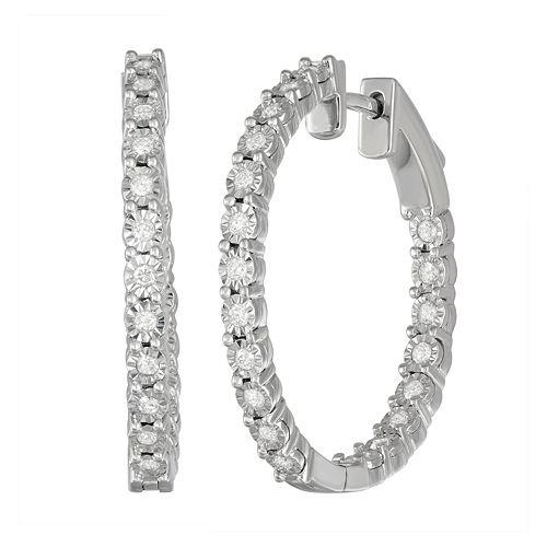 Women's Sterling Silver 1/2 ct Diamond Hoop Earrings