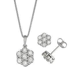 Women's Sterling Silver 1/2 CT Diamond Pendant & Earring Set