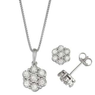 Women's Sterling Silver 1/2 CT Diamond Pendant & Earring Set