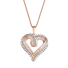 Women's Sterling Silver 1/2 CT Diamond Heart Pendant