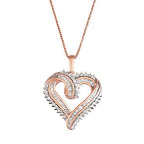 Women's Sterling Silver 1/2 CT Diamond Heart Pendant