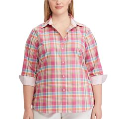 Plus Size Chaps Striped No-Iron Broadcloth Shirt