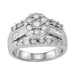 Women's Sterling Silver 1/2 CT Diamond Ring