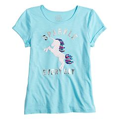Girls 7-16 SO® Short Sleeve Graphic Reversible Sequin Detail Tee