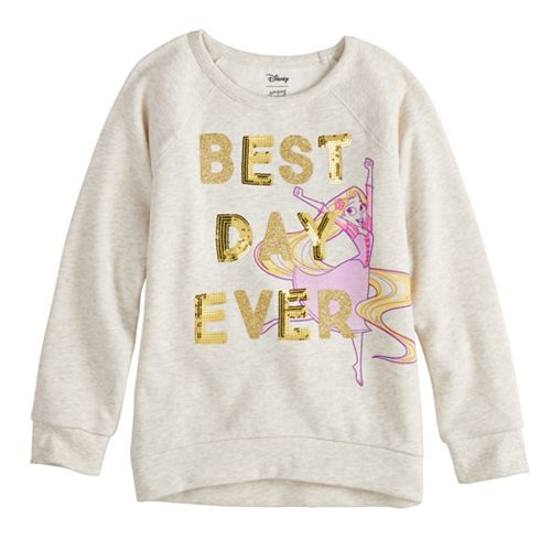 """Disney's Rapunzel Toddler Girl """"Best Day Ever"""" Glitter & Sequin Graphic Pullover by Jumping Beans®"""