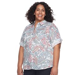 Plus Size Croft & Barrow® Roll-Tab Woven Shirt