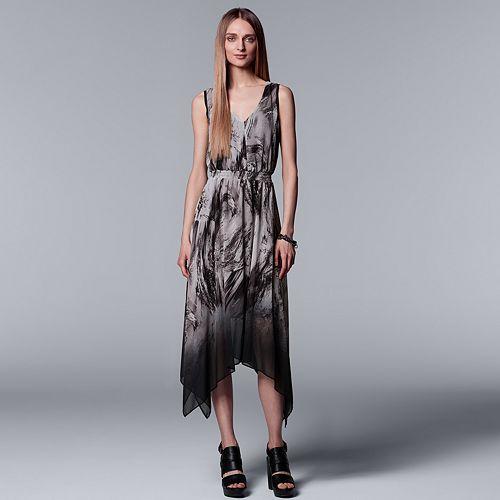 Women's Simply Vera Vera Wang Print Handkerchief Hem Dress