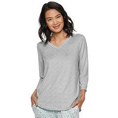 Women's Croft & Barrow® Whisper Luxe V-neck Pajama Tee