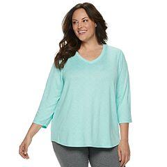 Plus Size Croft & Barrow® Whisper Luxe V-Neck Pajama Tee