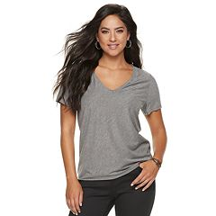 Women's Jennifer Lopez Caviar-Trim V-Neck Tee