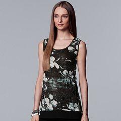 Women's Simply Vera Vera Wang Print Handkerchief Hem Tank
