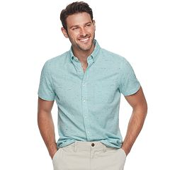 Men's SONOMA Goods for Life™ Slim-Fit Textured Linen-Blend Button-Down Shirt