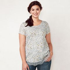 Plus Size LC Lauren Conrad Lace-Trim Top