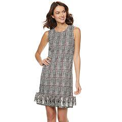 Women's Nina Leonard Ruffle-Hem Print Shift Dress