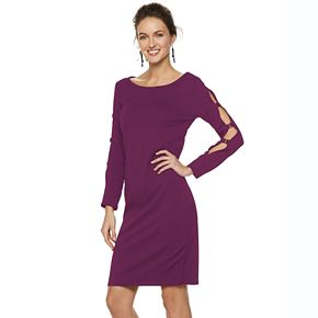 Women's Nina Leonard Ladder-Sleeve Sheath Dress