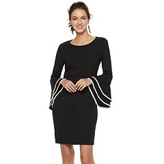 Women's Nina Leonard Tiered Bell-Sleeve Sheath Dress
