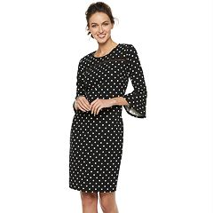 Women's Nina Leonard Polka-Dot Bell-Sleeve Sheath Dress